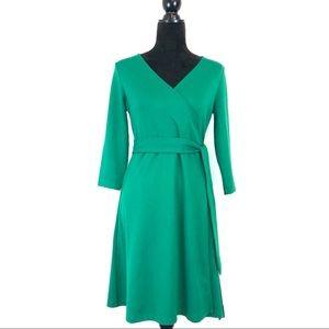 Lands End + Emerald Green Knit Wrap Dress